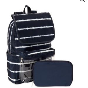 Blue and white tie dye backpack